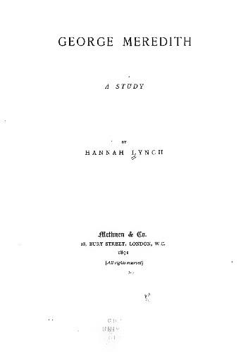 Okładka książki George Meredith. A Study