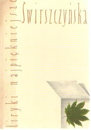 Okładka książki Liryki najpiękniejsze. Świrszczyńska