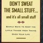 Don't Sweat the Small Stuff, and It's All Small Stuff