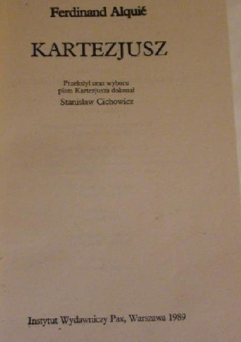 Okładka książki Kartezjusz