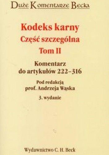 Okładka książki Kodeks karny Część szczególna t.2