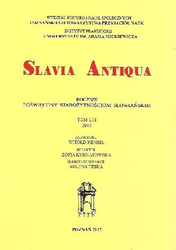 Okładka książki Slavia Antiqua, Tom LIII, 2012