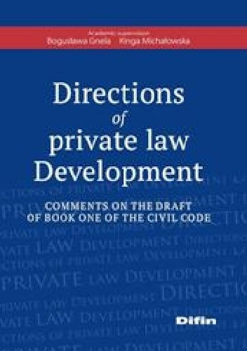 Okładka książki Directions of private law Development. Comments on the draft of book one of the civil code