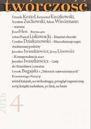 Okładka książki Twórczość nr 4/2016