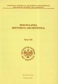 Okładka książki Miscellanea Historico Archivistica tom VII