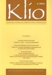 Okładka książki Klio. Czasopismo poświęcone dziejom Polski i powszechnym 4/2003