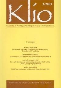 Okładka książki Klio. czasopismo poświęcone dziejom Polski i powszechnym 3/2003
