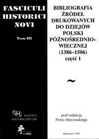 Okładka książki Fasciculi Historici Novi. Tom 3