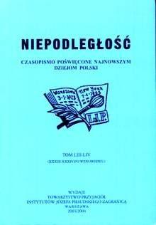 Okładka książki Niepodległość. Czasopismo poświęcone najnowszym dziejom Polski. Tom LIII-LIV