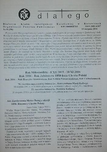 Okładka książki Dlatego. Biuletyn Klubu Inteligencji Katolickiej w Katowicach Organizacji Pożytku Publicznego nr 8/15 sierpnia 2016