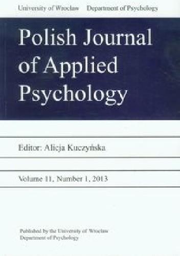 Okładka książki Polish Journal of Applied Psychology Volume 11 2/2013
