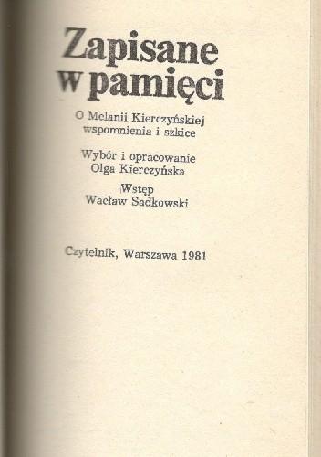 Okładka książki Zapisane w pamięci