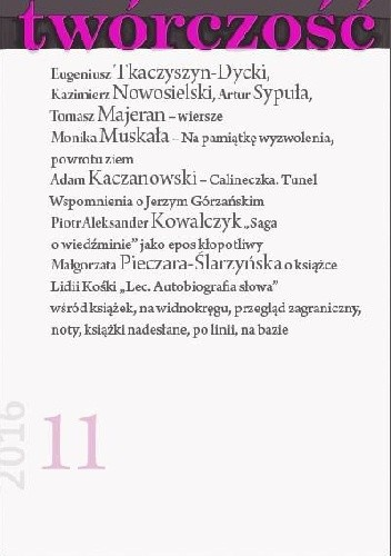 Okładka książki Twórczość nr 11 - 2016