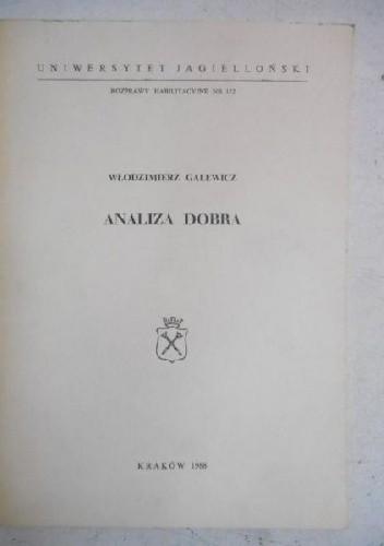 Okładka książki Analiza dobra