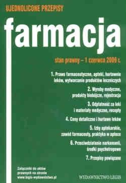 Okładka książki Farmacja. Ujednolicone przepisy.  Stan prawny 1 czerwca 2009 r.