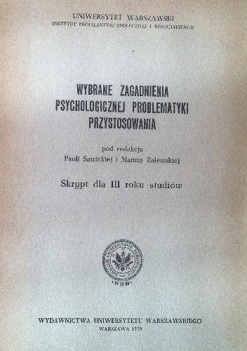 Okładka książki Wybrane zagadnienia psychologicznej problematyki przystosowania