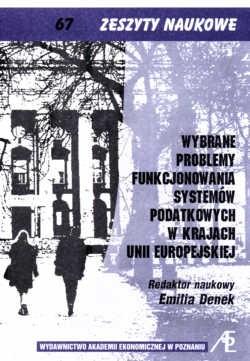 Okładka książki Wybrane problemy funkcjonowania systemów podatkowych w krajach Unii Europejskiej