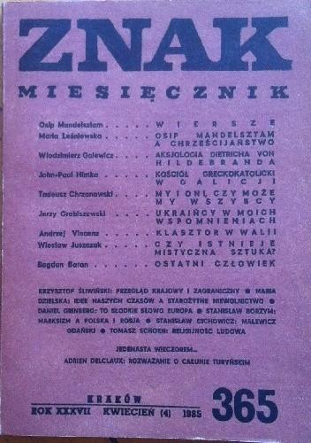"""Okładka książki Miesięcznik """"ZNAK"""", kwiecień 1985, nr 365"""