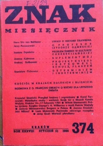 """Okładka książki Miesięcznik """"ZNAK"""",styczeń 1986, nr 374"""