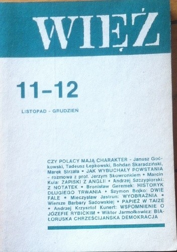 Okładka książki Więź nr 11-12 (337-338) listopad - grudzień 1986