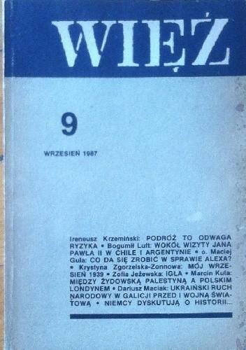 Okładka książki Więź nr 9 (347) wrzesień 1987