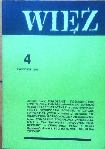 Okładka książki Więź nr 4 (354) kwiecień 1988