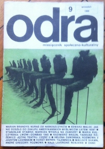 Okładka książki Odra. Miesięcznik społeczno-kulturalny nr 9, wrzesień 1988