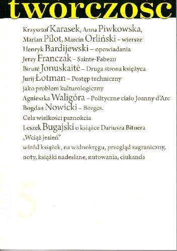 Okładka książki Twórczość nr 5 - 2017
