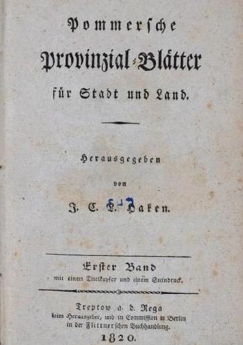 Okładka książki Pommersche Provinzial-Blätter für Stadt und Land