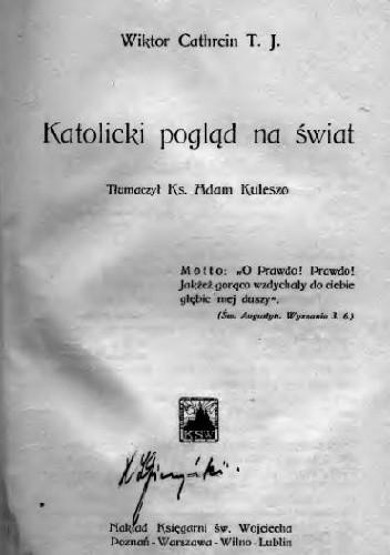 Okładka książki Katolicki pogląd na świat
