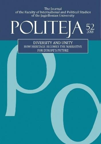 Okładka książki Politeja. Vol. 52. Diversity and Unity. How Heritage Becomes the Narrative for Europe's Future (2018)