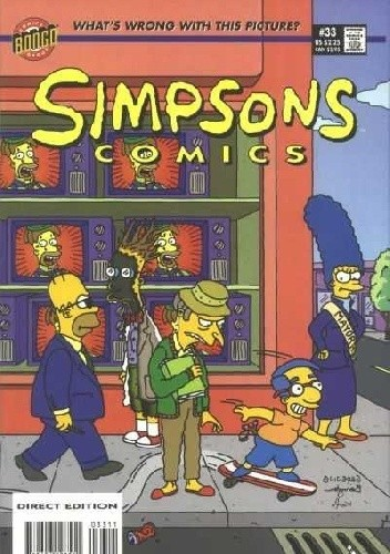 Okładka książki Simpsons Comics #33 - Milhouse the Man, Krusty in the Can and the Great Springfield Frink Out!