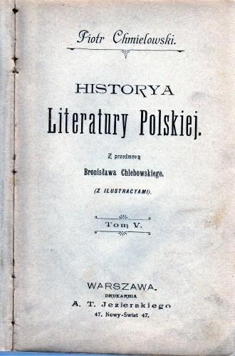 Okładka książki Historya Literatury Polskiej. Tom V
