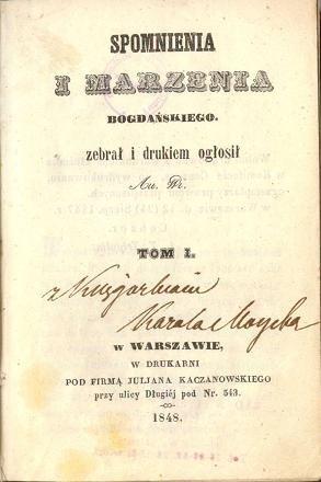 Okładka książki Wspomnienia i marzenia Bogdańskiego