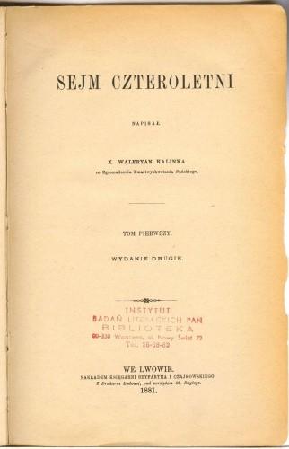 Okładka książki Sejm Czteroletni. T. 1