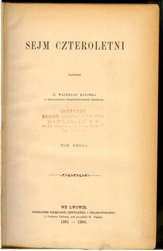 Okładka książki Sejm Czteroletni. T. 2