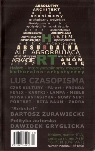 Okładka książki Ha!art – interdyscyplinarny magazyn kulturalno-artystyczny, nr 19A, 2004
