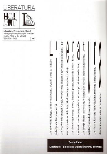 Okładka książki Liberatura. Arkusz pisma «Ha!art interdyscyplinarny magazyn o kulturze», nr 1-2 (28-29), 2009