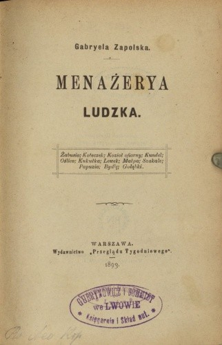 Okładka książki Menażerya ludzka