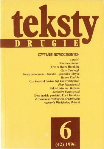 Okładka książki Teksty drugie, nr 6 (42) / 1996