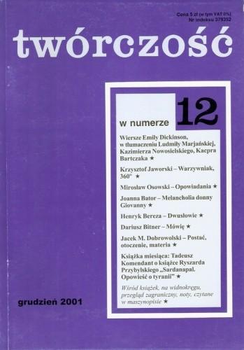 Okładka książki Twórczość, nr 12 (673)/ 2001