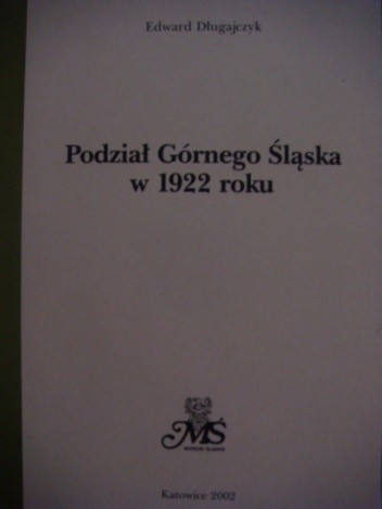 Okładka książki Podział Górnego Śląska w 1922 roku