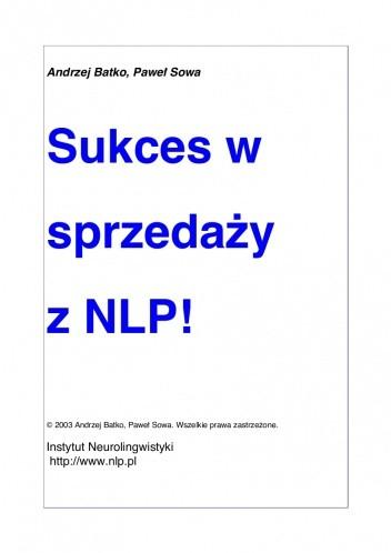 Okładka książki Sukces w sprzedaży z NLP!