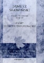 Okładka książki Próby teoretycznoliterackie Janusz Sławiński