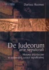 Okładka książki Motywy artystyczne w żydowskiej sztuce sepulkralnej Dariusz Rozmus