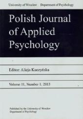 Okładka książki Polish Journal of Applied Psychology 11/2013 Alicja Kuczyńska