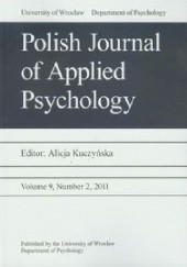 Okładka książki Polish Journal of Applied Psychology 2/2011 Alicja Kuczyńska