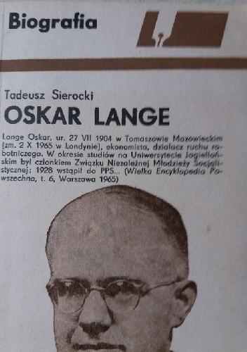 Okładka książki Oskar Lange Tadeusz Sierocki