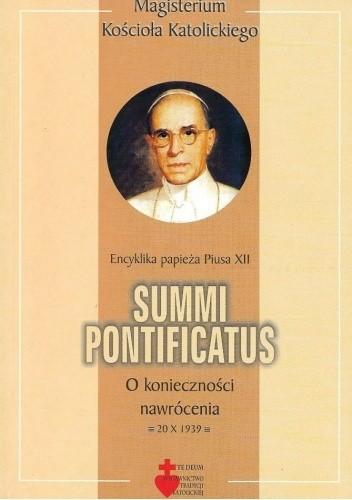 Okładka książki Summi Pontificatus. O konieczności nawrócenia Pius XII