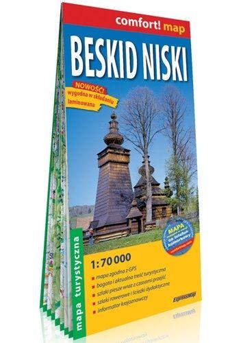 Okładka książki Beskid Niski; laminowana mapa turystyczna  1:70 000 praca zbiorowa